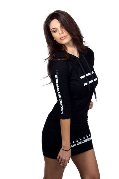 Picture of GLB by Kristina Vukas dress with a hood and print