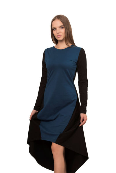 Picture of Women's midi asymmetrical bicolour dress