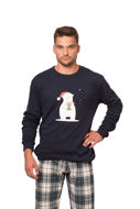 Picture of Men's  check pajamas with christmas print