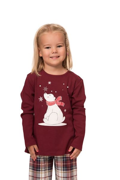 Picture of Check pajamas for girls with christmas print