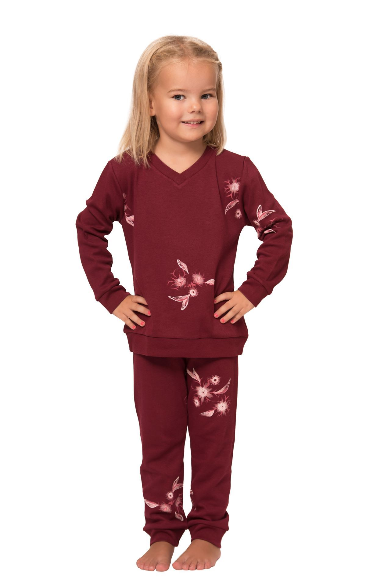 Picture of Cotton pajamas for girls with floral print