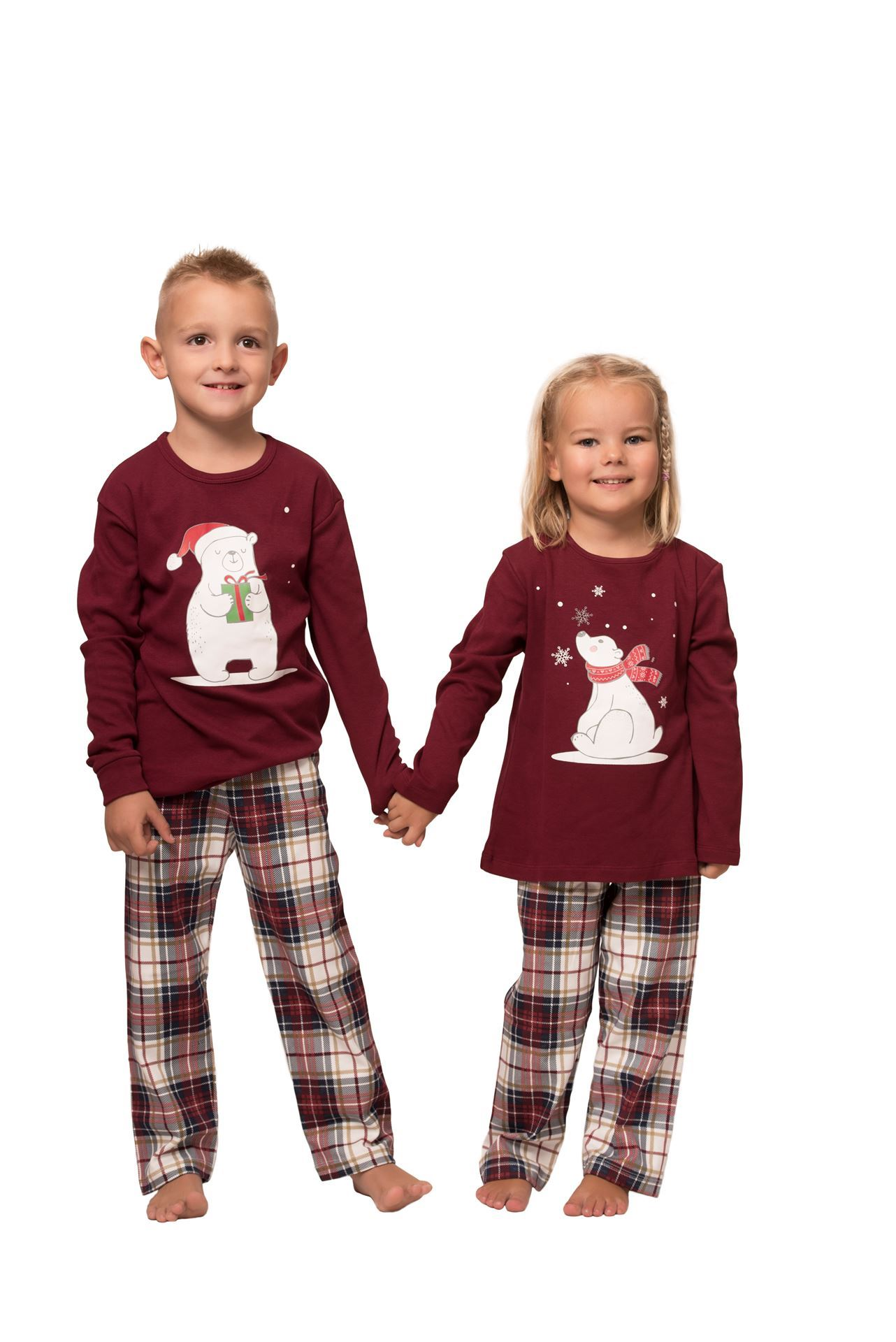 Picture of Check pajamas for boys with christmas print