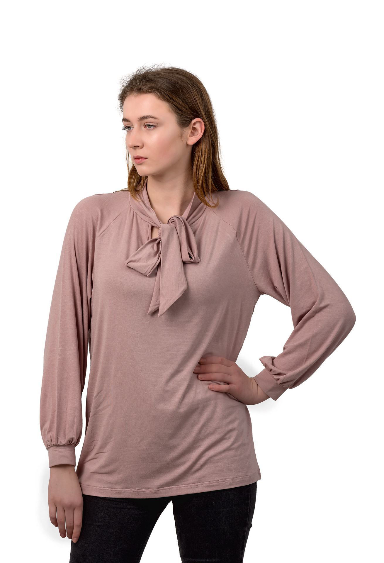 Picture of Women's Long Sleeve Blouse - tying around the neck - Outlet