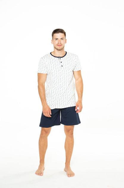 Picture of Dvodijelna muška pidžama s gumbima na motiv sidro