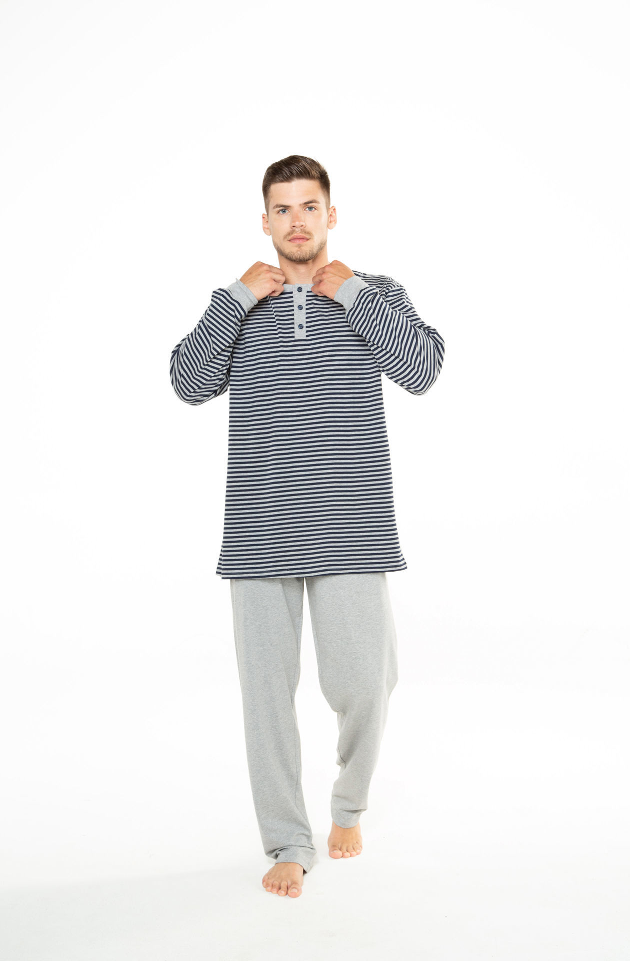 Picture of Men's cotton pajamas with buttons