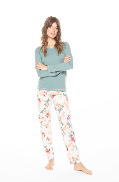 Picture of Women's cotton pajamas with floral pattern pants