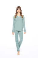 """Picture of Women's long modal pajamas with a """"V"""" neckline"""